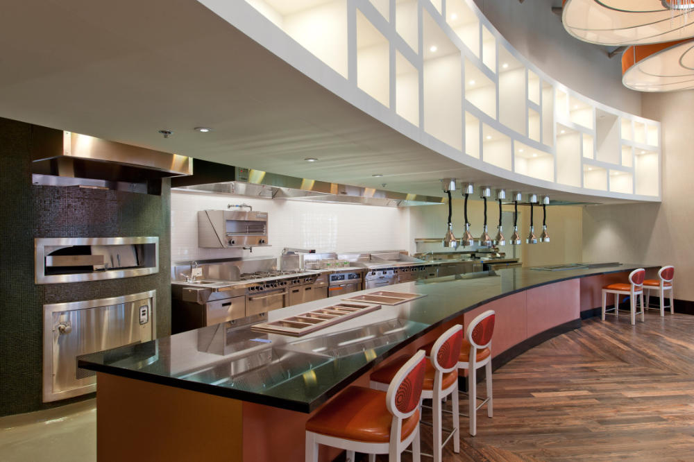 custom commercial countertops installed in a commercial building kitchen