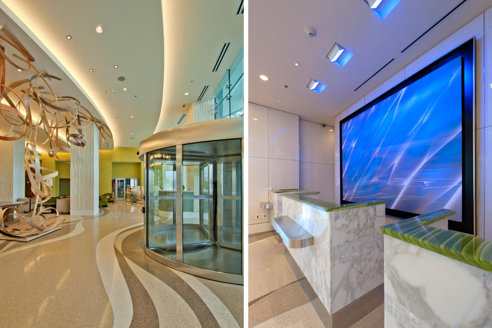 two commercial building lobbies side by side with tile floors and granite counters